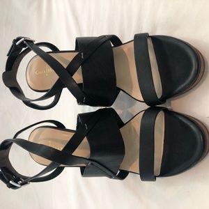 Cole Haan Black Leather Wedge Sandal